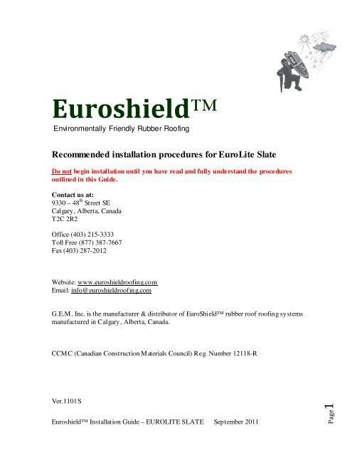 Eurolite Slate Installation Guide Revised Sept 2011 Euroshield