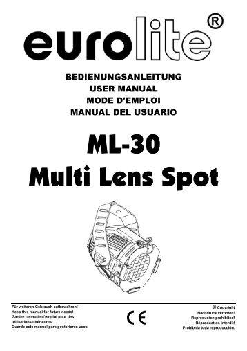 Eurolite ml-56 cdm multi lens spot user manual.