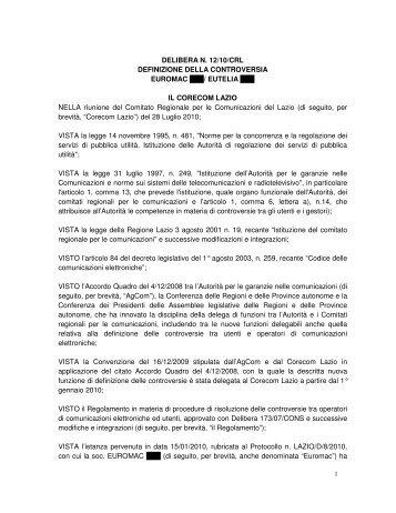 DELIBERA N. 12/10/CRL DEFINIZIONE DELLA ... - Corecom
