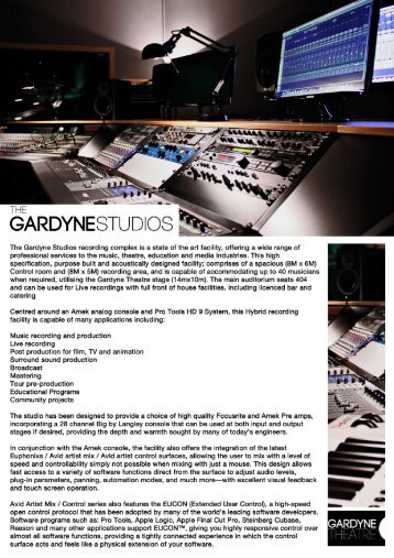 Download Studio Tech Spec as pdf - The Gardyne Theatre