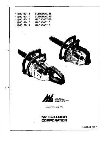 Motorsense McCulloch, Euromac, Cabrio, 320, 321, 340, 341