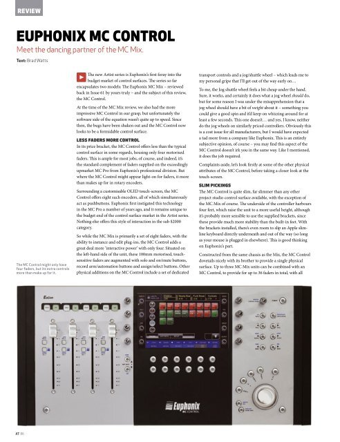 Euphonix MC Control controller Issue 64