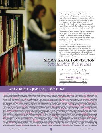 2006-2007 Scholarship Recipients - The Sigma Kappa Foundation