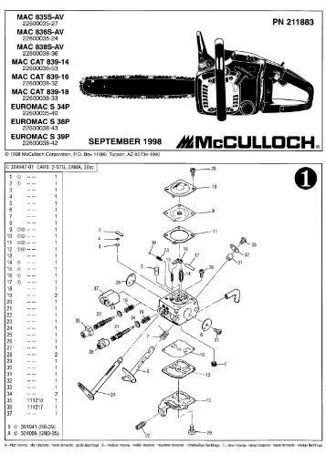 Mcculloch mcc 1435a chainsaw manual