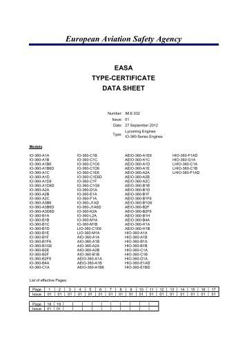 European Aviation Safety Agency EASA TYPE-CERTIFICATE DATA