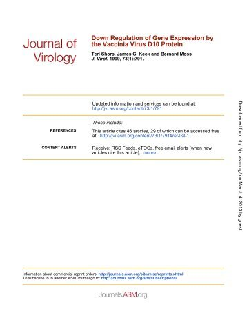 Down Regulation of Gene Expression by the Vaccinia Virus D10 ...