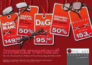 Unser Flyer zum Inventurverkauf - Optic Art Verweyen in Bad Honnef