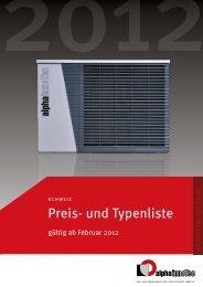 Preis- und Typenliste 2012 (9804 KB) - Alpha-InnoTec Schweiz AG