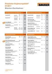 Preisliste Dach-Systeme 2011 - Bauder