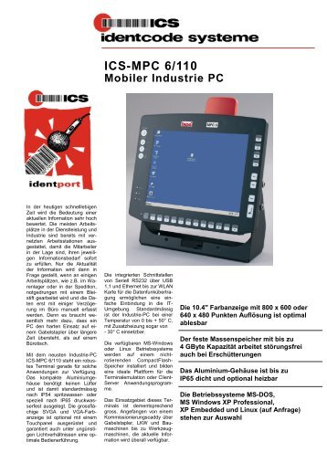 ICS-MPC 6/110 Mobiler Industrie PC - ICS Identcode Systeme AG