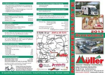 Download Mietpreisliste Motorcaravans 2013 - Mueller-Mobil.de