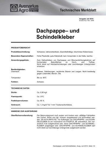 Dachpappe– und Schindelkleber - Avenarius-Agro