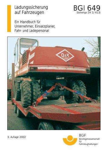BGI 649 Ladungssicherung auf Fahrzeugen - Gabelstapler