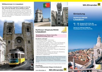 Einladung Lissabon Mit.Einander Mit.Einander Lissabon - Raiffeisen