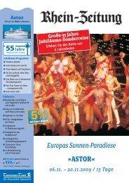 Europas Sonnen-Paradiese »ASTOR« - rz-Leserreisen