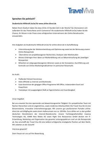 studentische hilfskraft mw polnisch travel viva - Studentische Hilfskraft Bewerbung