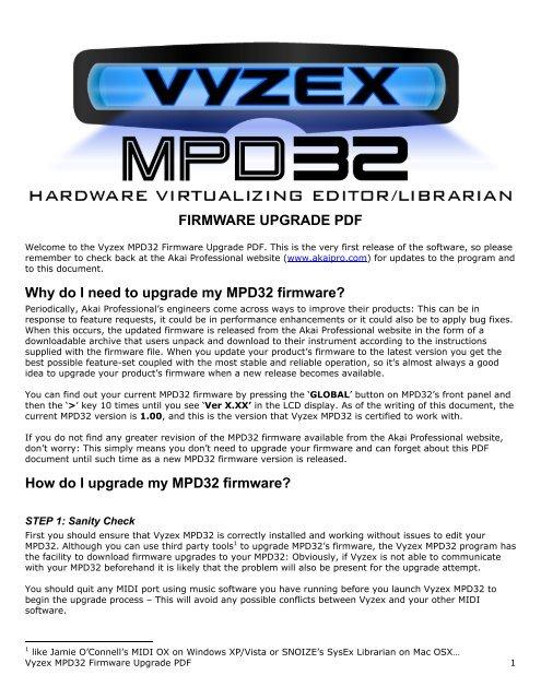 Vyzex MPD32 Firmware Upgrade PDF - Akai