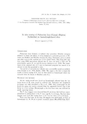 In vitro rearing of Palexorista laxa - Bulletin of insectology