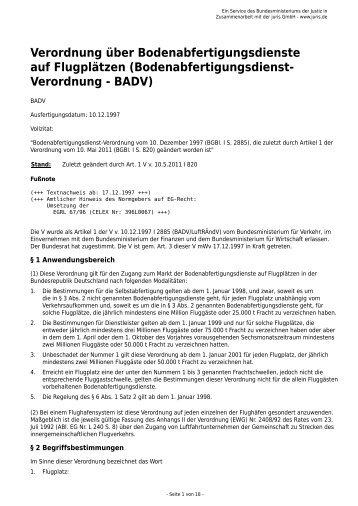 Bodenabfertigungsdienst- Verordnung - BADV - Gesetze im Internet