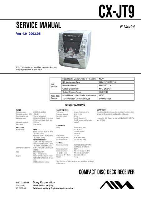 Service Manual Compact Disc Deck Receiver