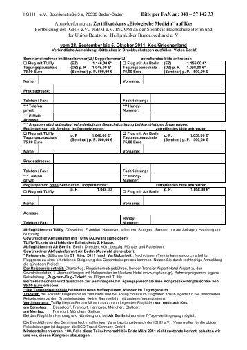 Bitte per FAX an: 040 – 57 142 33 Anmeldeformular: Zertifikatskurs ...