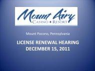 Mount Airy Casino Resort - Pennsylvania Gaming Control Board