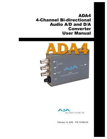 User Manual for 4-Channel Bi-directional Audio - Hollywood Studio ...