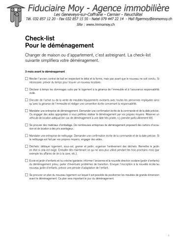 Check-list pour le déménagement PDF - Credit Suisse - Wohnen