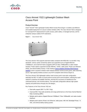 Cisco Aironet 1522 Lightweight Outdoor Mesh Access Points. 1-800 ...