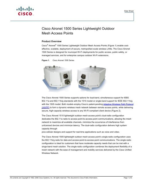Cisco Aironet 1500 Series Lightweight Outdoor Mesh     - AirQuay
