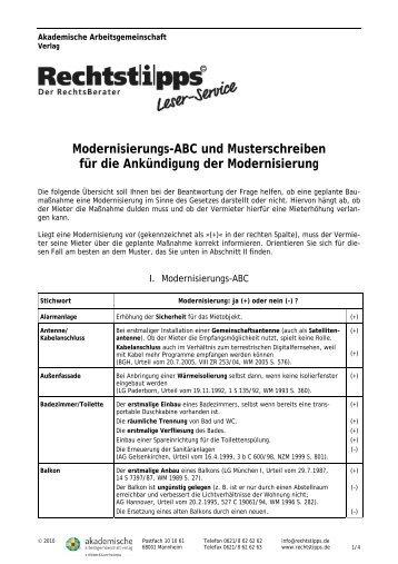 Modernisierungs Abc Und Musterschreiben Fã¼r Die Ankã¼ndigung