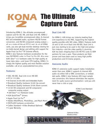 AJA Electronics Kona family brochure 2005 - Creative Video