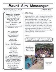 Mount Airy Messenger - Mount Airy Wesleyan Church