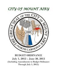 City of Mount Airy Budget Ordinance
