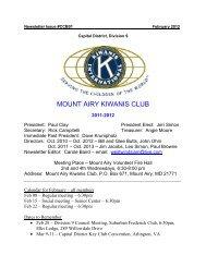 MOUNT AIRY KIWANIS CLUB - Kiwanis Club of Mt. Airy