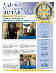 District Governor Mike Conrad Visits Mount Airy - Mount Airy Rotary