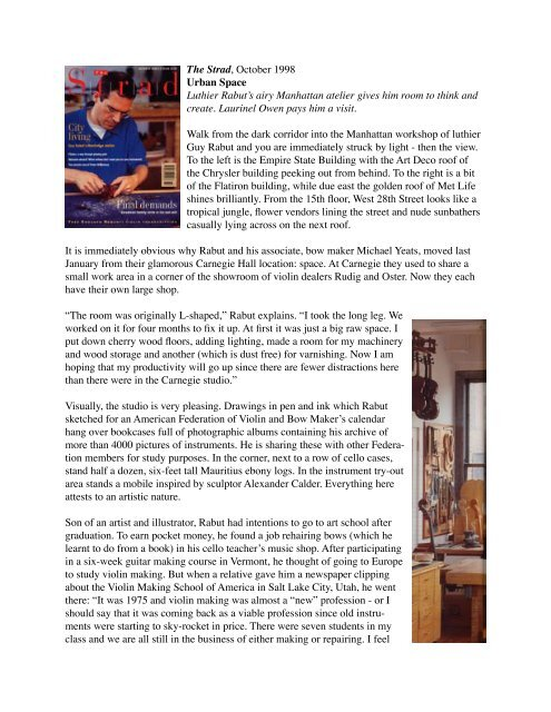 The Strad, October 1998 Urban Space Luthier Rabut's airy ...