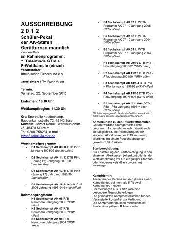 AUSSCHREIBUNG 2 0 1 2 - RTB