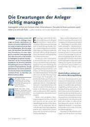 Die Erwartungen der Anleger richtig managen - IFBC