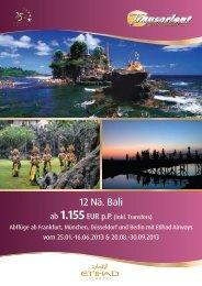 12 Nä. Bali & Flug mit Etihad Airways - Transorient