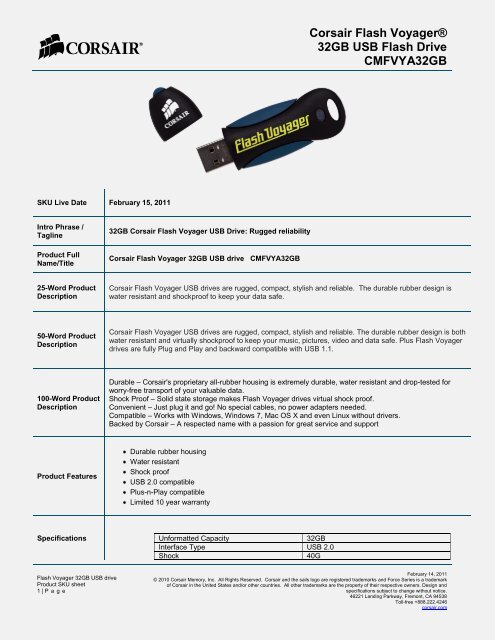 Corsair Voyager Flash Drive Water Resistant Shock Proof New Usb