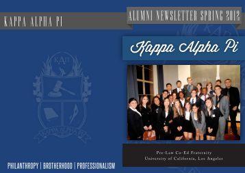 Alumni Newsletter SPRING 2012 Kappa Alpha PI