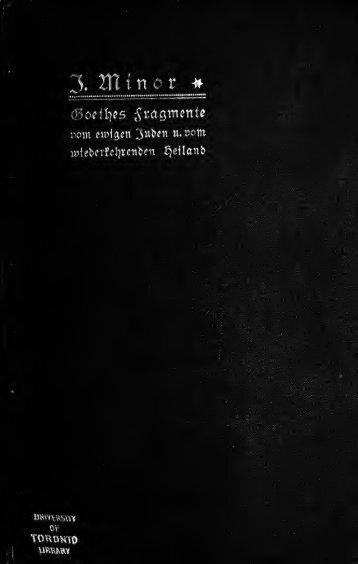 Goethes Fragmente vom ewigen Juden und vom wiederkehrenden ...