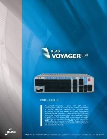 VoyagerESR - Routing, switching and VoIP based on Cisco - Klas