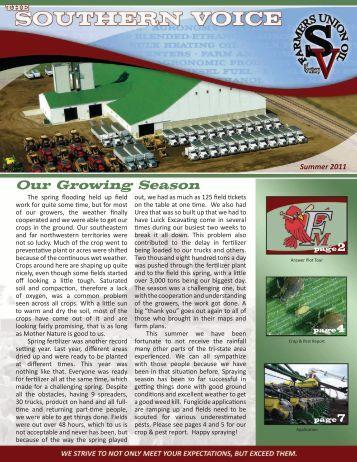 Summer 2011 Newsletter - FUOSV Agronomy