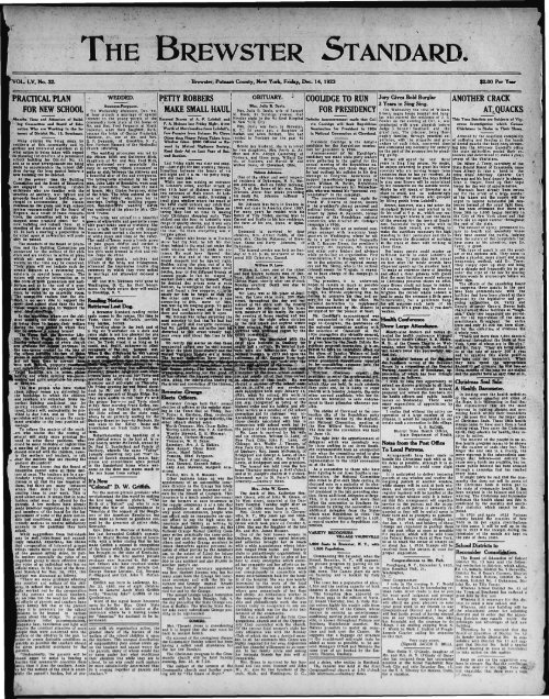 the brewster standard. - Northern New York Historical Newspapers