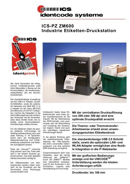 ICS-PZ ZM600 Industrie Etiketten-Druckstation - ICS Identcode ...