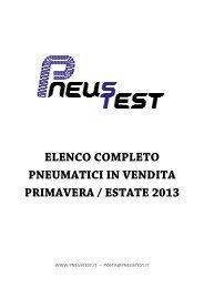 ELENCO COMPLETO PNEUMATICI IN VENDITA PRIMAVERA / ESTATE 2013