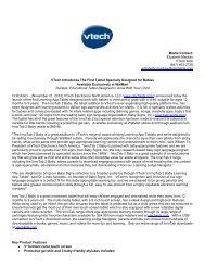 Media Contact: Elizabeth Mackey VTech Kids (847) 463-2728 ...