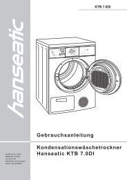 Gebrauchsanleitung Kondensationswäschetrockner Hanseatic KTB ...
